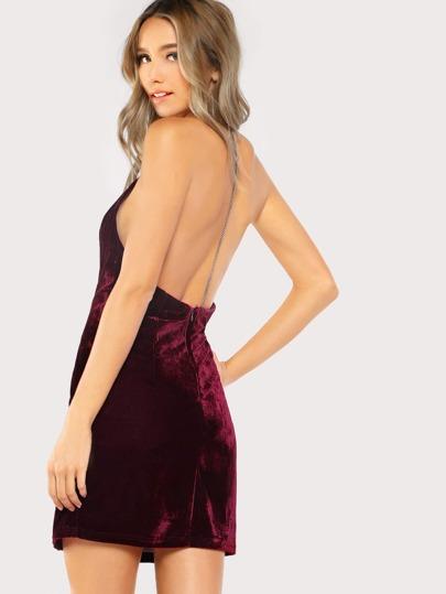 Halter Chain Velvet Dress WINE