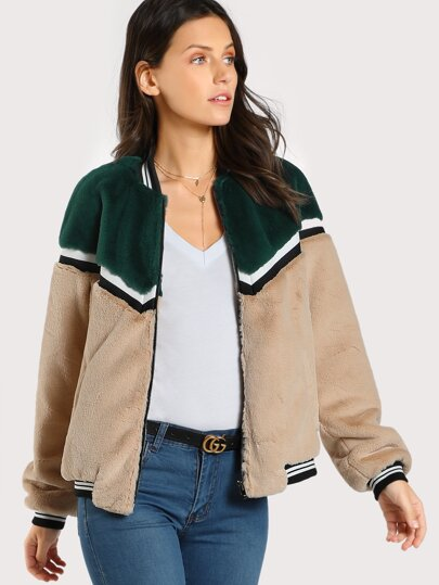 Color Block Fuzzy Bomber Jacket