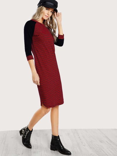 Raglan Sleeve Curved Hem Striped Dress