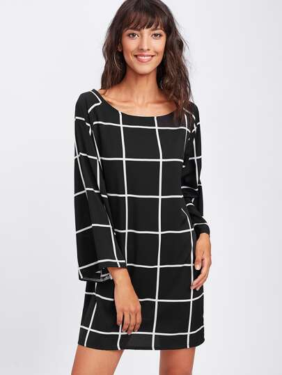 Gingham Print Shift Dress