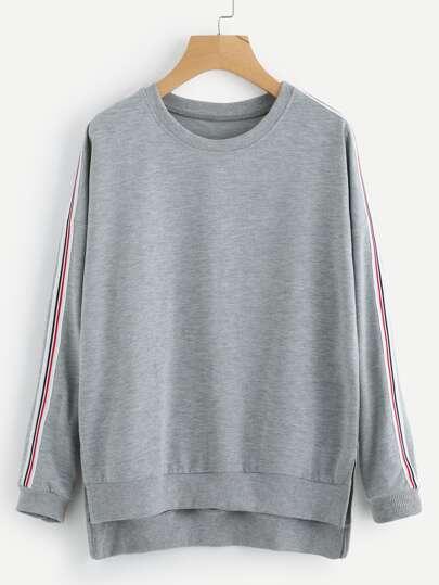 Side Striped Dip Hem Split Sweatshirt