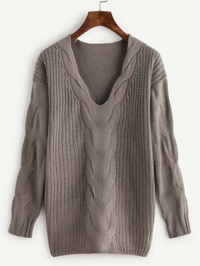Plunge Drop Shoulder Cable Knit Sweater