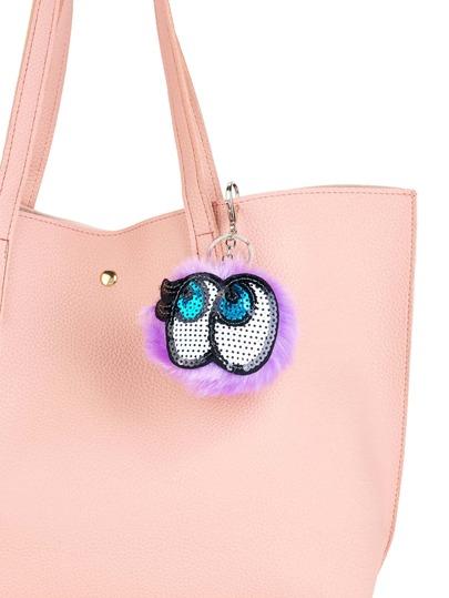 Porte-clés des yeux de paillette & pompon