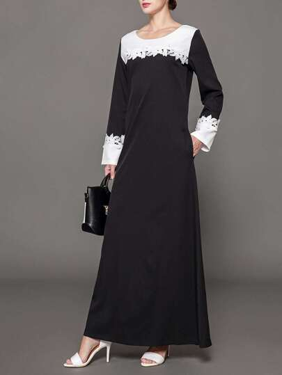 Lace Crochet Contrast long hijab dress