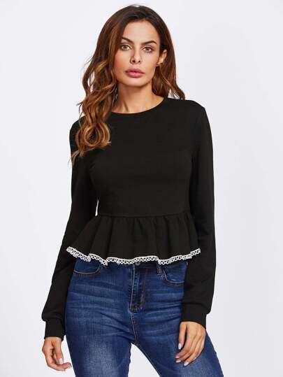 Exposed Zip Back Lace Trim Peplum Sweatshirt