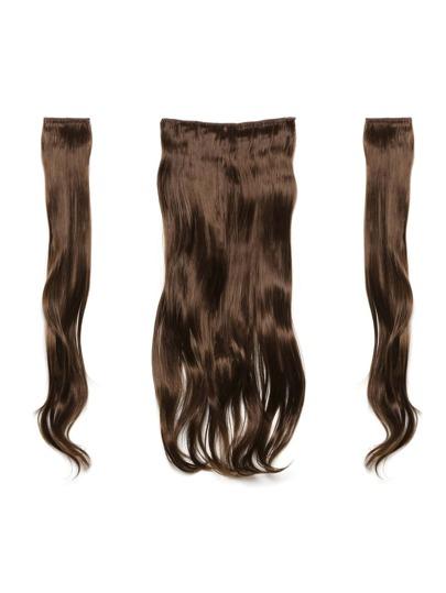 3 piezas de extensión de pelo ondulado castaño