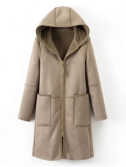 Multiway Seam Detail Suede Sherpa Hooded Coat