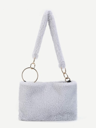 Ring Linked Faux Fur Shoulder Bag