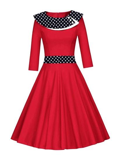Contrast Polka Dot Flare Dress