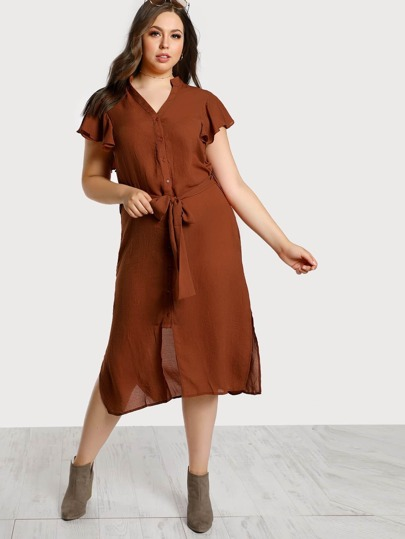 Self Tie Side Slit Shirt Dress