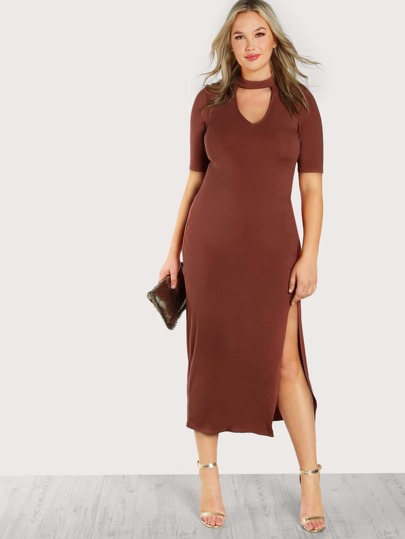 Choker Cut Out Slit Midi Dress RUST