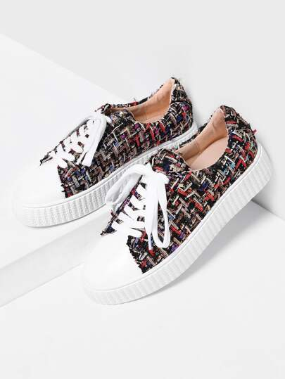 Tweed Lace Up Plimsolls