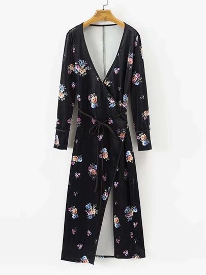 Kimono large en velours avec lacet et la pile inclinée