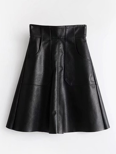 Zipper Back PU Flared Skirt