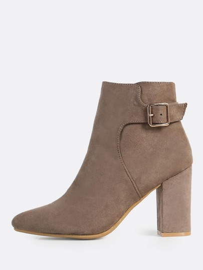 Point Toe Side Strap Buckle Booties TAUPE
