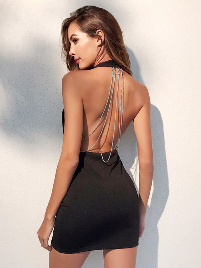 Plunging V-neckline Surplice Backless Halter Dress