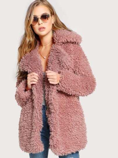 Wool Knit Coat MAUVE