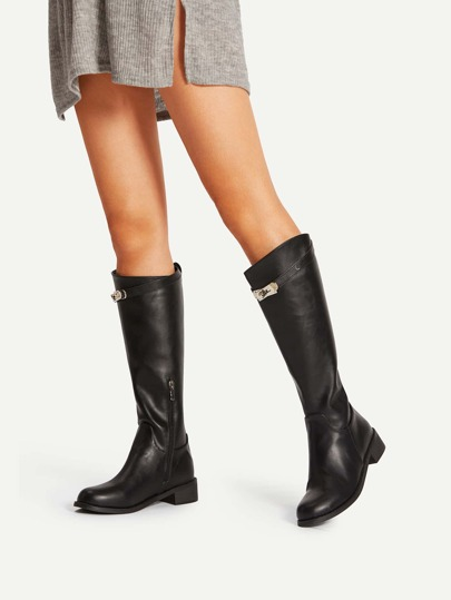 Metal Detail Side Zipper PU Boots