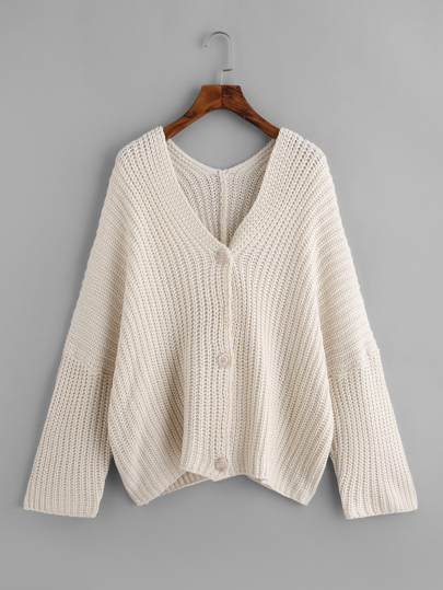 Drop Shoulder Mixed Knit Cardigan