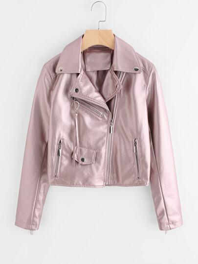 Revere Collar Zip Detail Leather Jacket