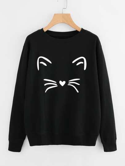 Cat Face Print Sweatshirt