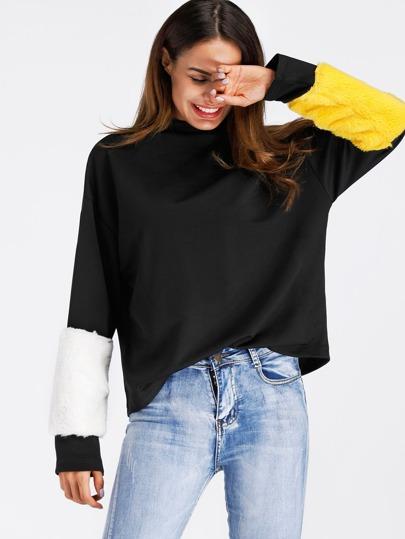 Sweat-shirt manche avec fourrure fausse