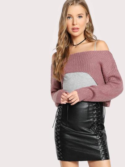 High Low Crop Sweater MAUVE