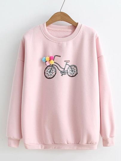 Sudadera estampada de bicicleta con pompones