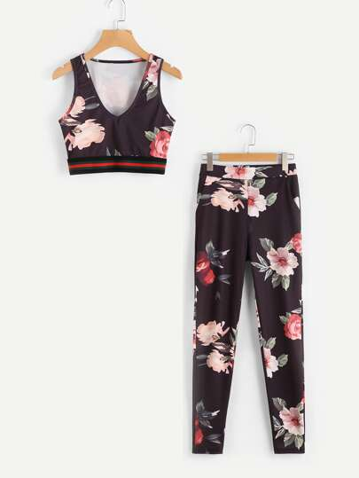 Striped Trim Floral Print Crop Tank Top With Pants