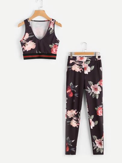 Top corto con estampado floral a rayas y pantalones
