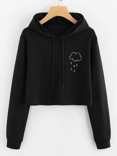 Rain Print Crop Hooded Sweatshirt
