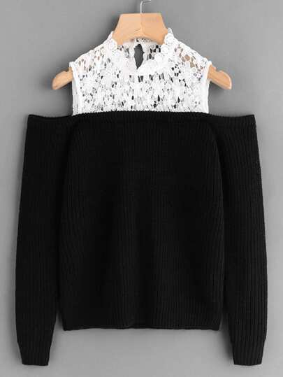 Guipure Lace Yoke Open Shoulder Jumper