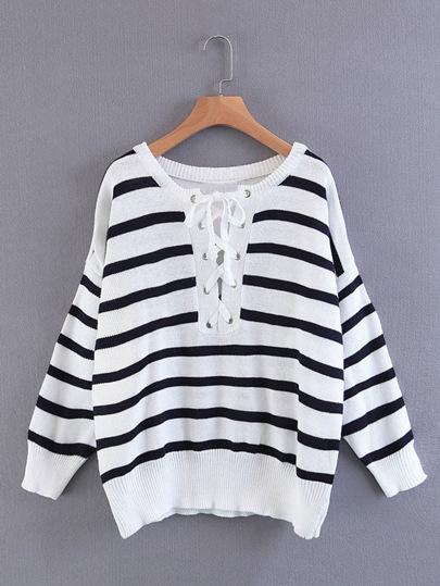 Lace Up Striped Knitwear