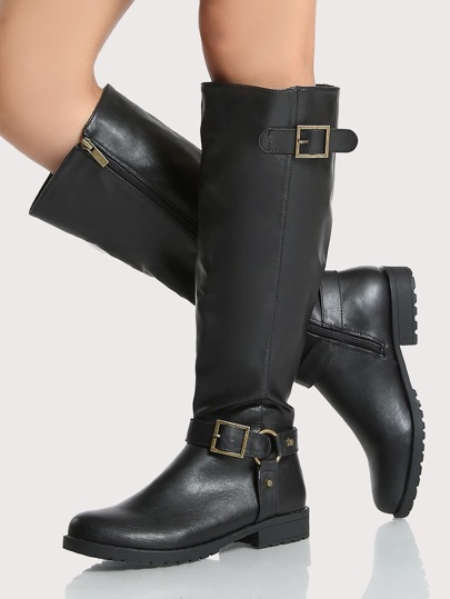 Side Buckle Round Toe Calf Boots BLACK
