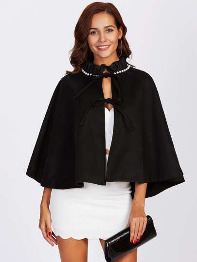 Pearl And Frilled Neck Bow Tied Front Poncho Coat