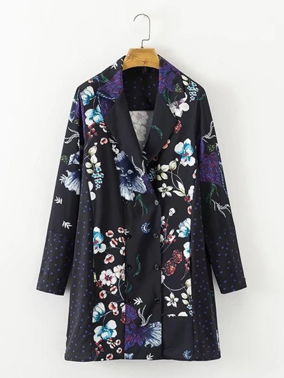 Flower & Dot Print Blazer Dress