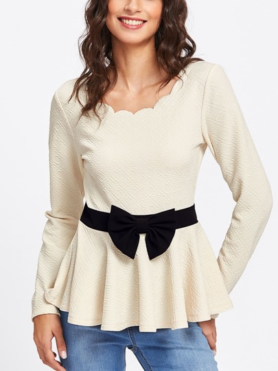 Bow Belted Panel Scalloped Textured Peplum Blouse