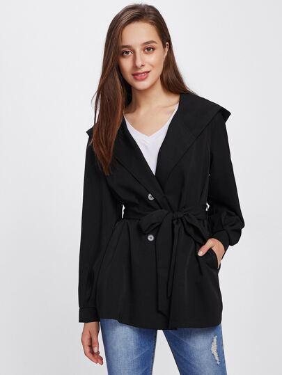 Self Belted Hoodie Coat