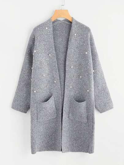 Lange Strick Jacke mit Perlen