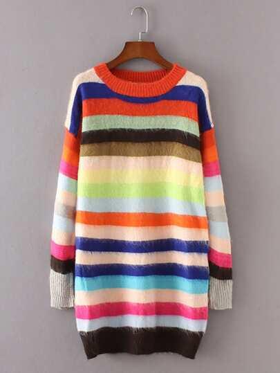 Block Striped Fuzzy Sweater Dress