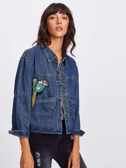 Bird Embroidered Denim Jacket