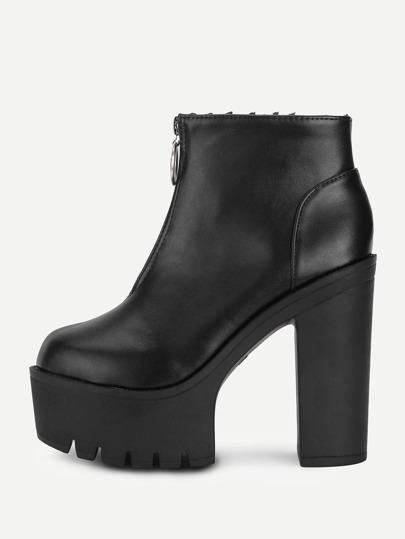 Front Zipper Platform PU Boots