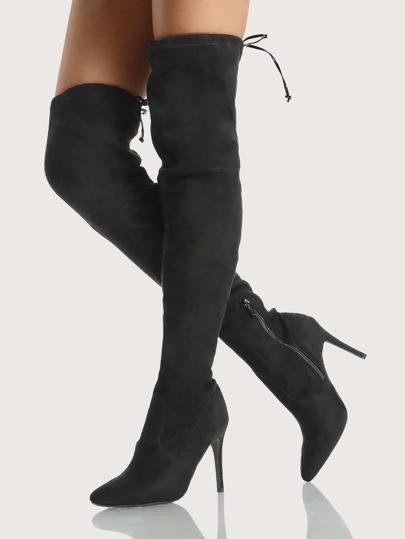 Point Toe Drawstring Thigh High Boots BLACK
