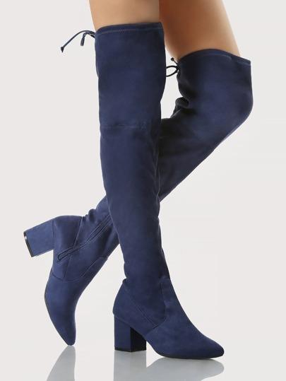 Point Toe Chunky Heel OTK Boots NAVY