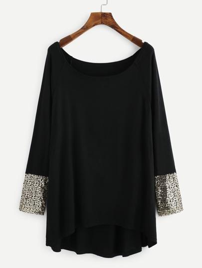 Tee-shirt trapèze poignet contrasté avec paillette