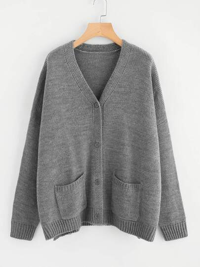 Dropped Shoulder Slit Side Pocket Cardigan