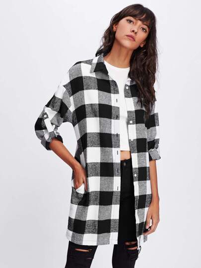 Roll Tab Sleeve Button Up Plaid Shirt
