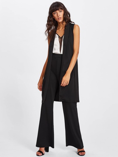 Sleeveless Foldover Neck Blazer With Pants