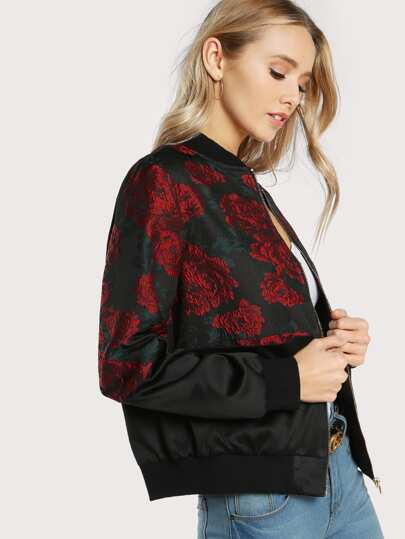 Flower Print Mixed Media Bomber Jacket
