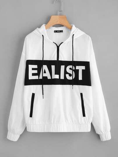 Camisa de capucha con hombro caído y letras